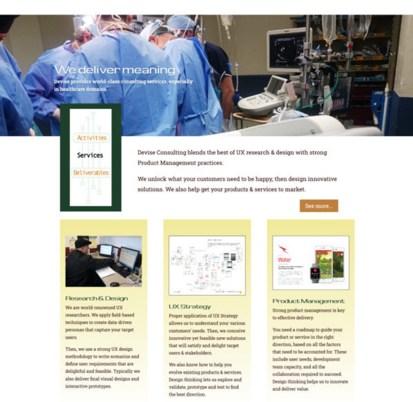 Devise Consulting Home page